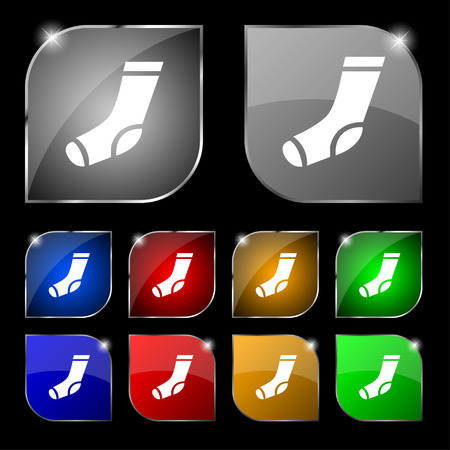 hosiery: socks icon sign. Set of ten colorful buttons with glare. Vector illustration Illustration
