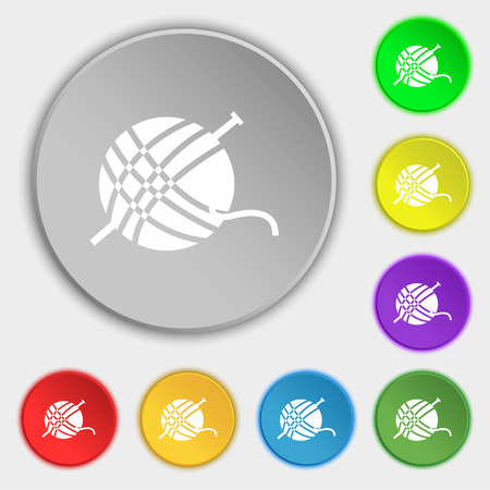 clew: Yarn ball icon sign. Symbol on eight flat buttons. Vector illustration