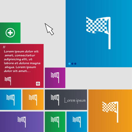 two crossed checkered flags: racing flag icon sign. buttons. Modern interface website buttons with cursor pointer. Vector illustration