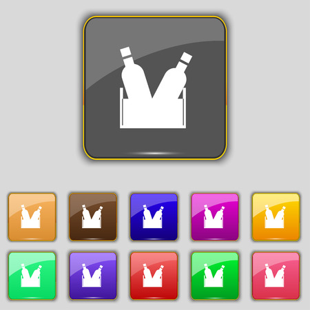 frothy: Beer bottle icon sign. Set with eleven colored buttons for your site. Vector illustration Illustration