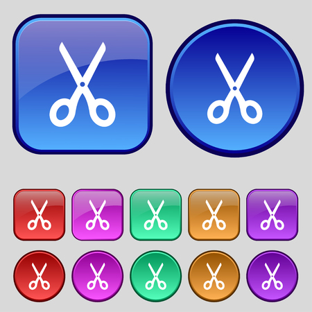 haircutting: Scissors icon sign. A set of twelve vintage buttons for your design. Vector illustration Illustration