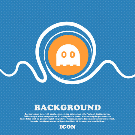 Ghost icon sign. Blue and white abstract background flecked with space for text and your design. Vector illustration