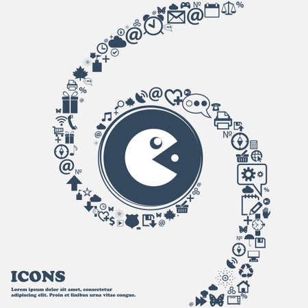 pop culture: pac man icon in the center. Around the many beautiful symbols twisted in a spiral. You can use each separately for your design. Vector illustration Illustration