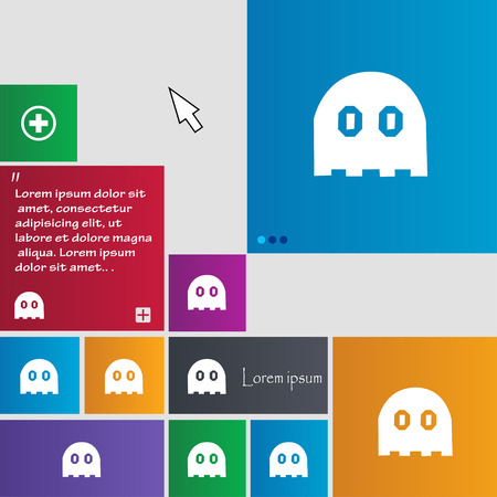 phantom: Ghost icon sign. buttons. Modern interface website buttons with cursor pointer. Vector illustration