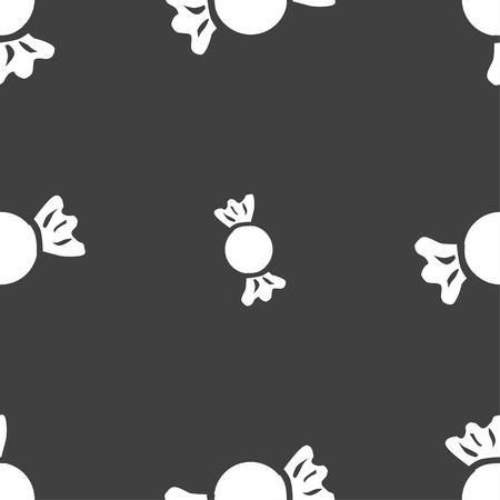 taffy: candy icon sign. Seamless pattern on a gray background. Vector illustration