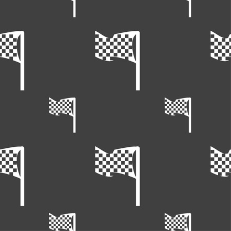 two crossed checkered flags: racing flag icon sign. Seamless pattern on a gray background. Vector illustration