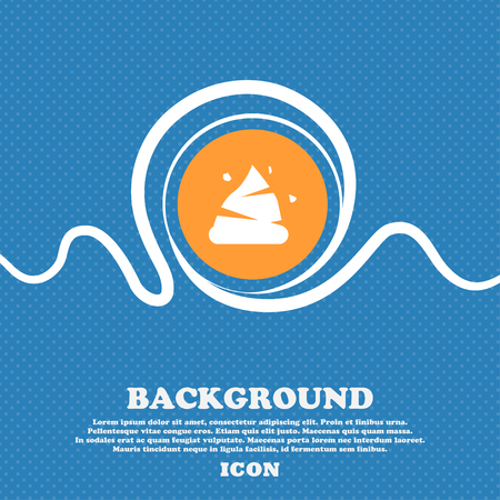 Poo icon sign. Blue and white abstract background flecked with space for text and your design. Vector illustration