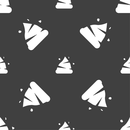 feces: Poo icon sign. Seamless pattern on a gray background. Vector illustration