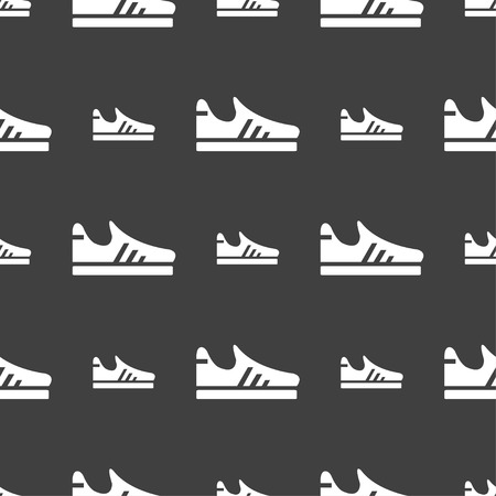 foot gear: Running shoe icon sign. Seamless pattern on a gray background. Vector illustration Illustration