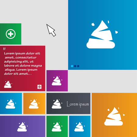 feces: Poo icon sign. buttons. Modern interface website buttons with cursor pointer. Vector illustration