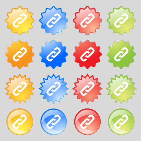 solid figure: link icon sign. Big set of 16 colorful modern buttons for your design. Vector illustration