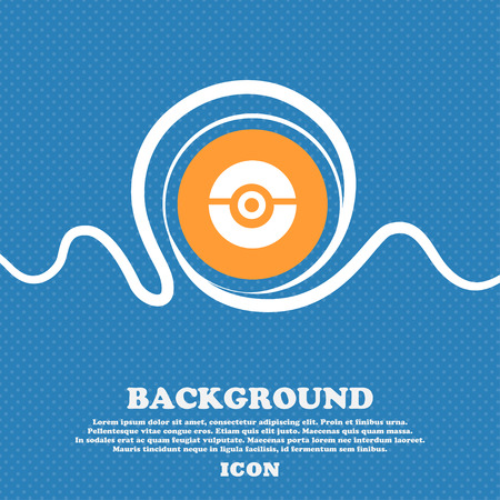 pokeball icon sign. Blue and white abstract background flecked with space for text and your design. Vector illustration