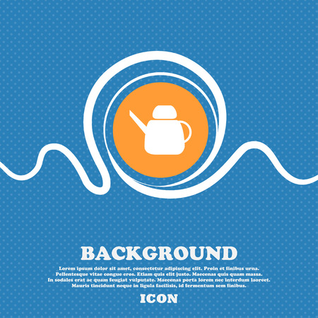 Kettle Icon sign. Blue and white abstract background flecked with space for text and your design. Vector illustration