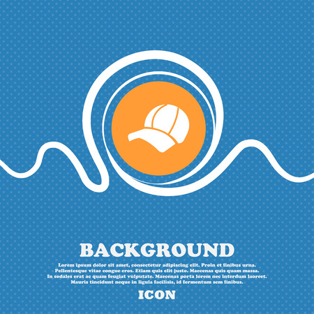 peak hat: Ball cap icon sign. Blue and white abstract background flecked with space for text and your design. Vector illustration Illustration