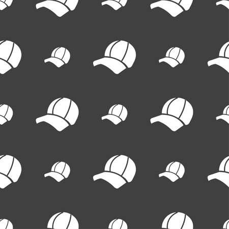 peak hat: Ball cap icon sign. Seamless pattern on a gray background. Vector illustration