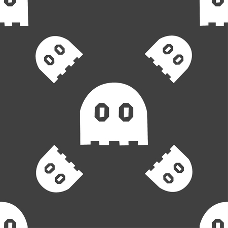 haunt: Ghost icon sign. Seamless pattern on a gray background. Vector illustration