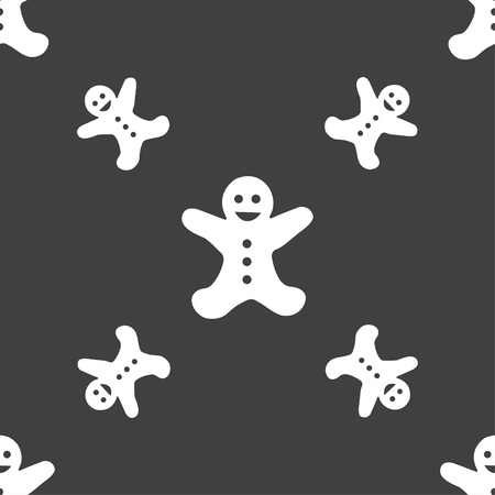 brown rice: Gingerbread man icon sign. Seamless pattern on a gray background. Vector illustration Illustration