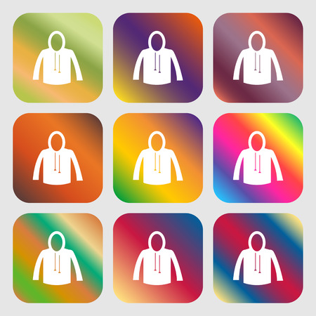 fur hood: casual jacket icon sign. Nine buttons with bright gradients for beautiful design. Vector illustration
