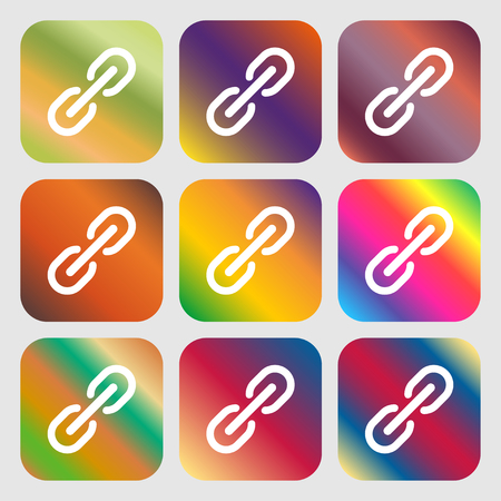 pressure linked: Chain Icon sign. Nine buttons with bright gradients for beautiful design. Vector illustration