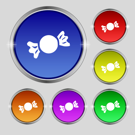 candy icon sign. Round symbol on bright colourful buttons. Vector illustration