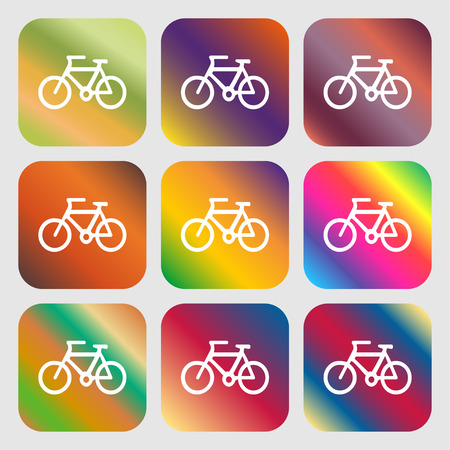 over weight: Bicycle icon sign. Nine buttons with bright gradients for beautiful design. Vector illustration