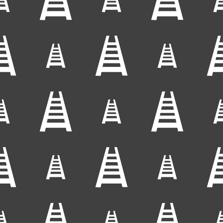 hand rails: Railway track icon sign. Seamless pattern on a gray background. Vector illustration