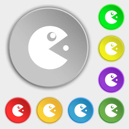 pop culture: pac man icon sign. Symbol on eight flat buttons. Vector illustration Illustration