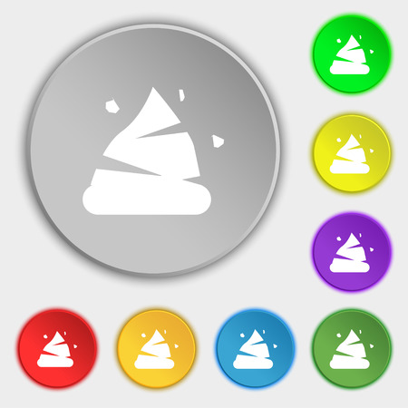 feces: Poo icon sign. Symbol on eight flat buttons. Vector illustration
