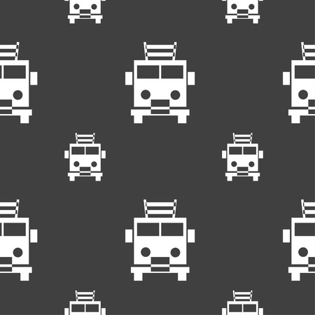 fire engine: Fire engine icon sign. Seamless pattern on a gray background. Vector illustration