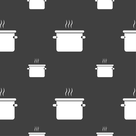skimmer: pan cooking icon sign. Seamless pattern on a gray background. Vector illustration