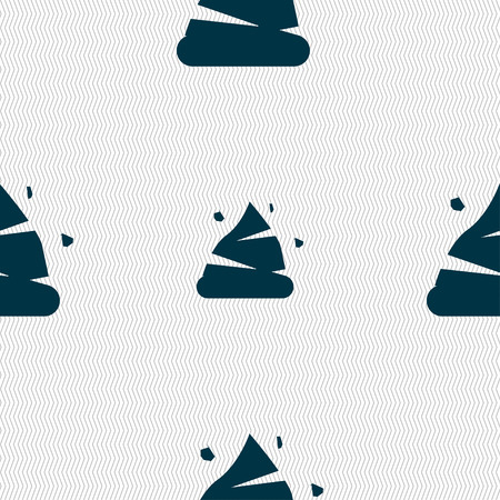 Poo icon sign. Seamless pattern with geometric texture. Vector illustration