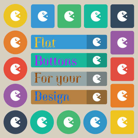 pop culture: pac man icon sign. Set of twenty colored flat, round, square and rectangular buttons. Vector illustration