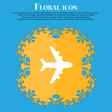 Plane icon sign. Floral flat design on a blue abstract background with place for your text. Vector illustration Illustration