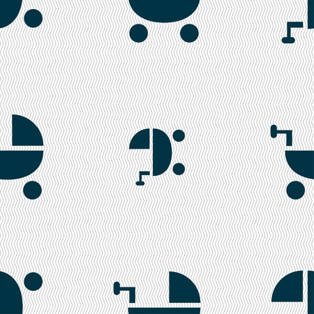 home birth: Baby Stroller icon sign. Seamless pattern with geometric texture. Vector illustration