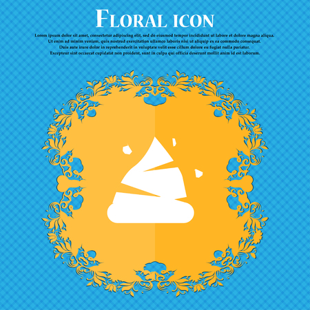 Poo icon sign. Floral flat design on a blue abstract background with place for your text. Vector illustration Illustration
