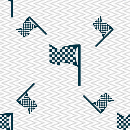 two crossed checkered flags: racing flag icon sign. Seamless pattern with geometric texture. Vector illustration Illustration