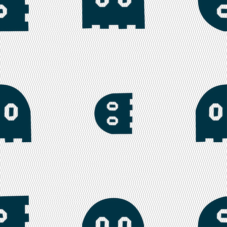 phantom: Ghost icon sign. Seamless pattern with geometric texture. Vector illustration