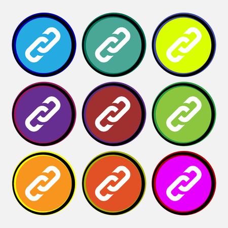link icon: link icon sign. Nine multi colored round buttons. Vector illustration
