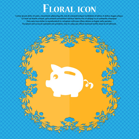 Piggy bank icon sign. Floral flat design on a blue abstract background with place for your text. Vector illustration