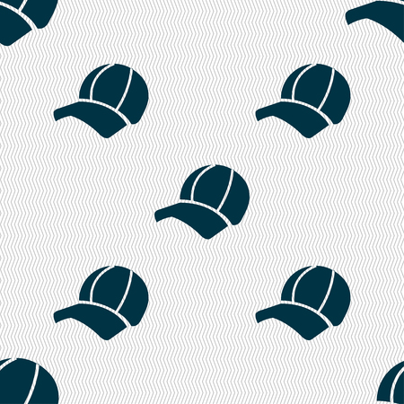 peak hat: Ball cap icon sign. Seamless pattern with geometric texture. Vector illustration