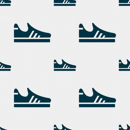 foot gear: Running shoe icon sign. Seamless pattern with geometric texture. Vector illustration