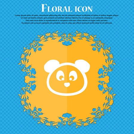 Teddy Bear icon sign. Floral flat design on a blue abstract background with place for your text. Vector illustration