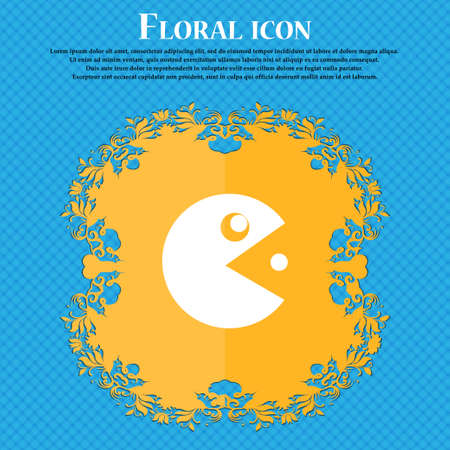 pop culture: pac man icon sign. Floral flat design on a blue abstract background with place for your text. Vector illustration