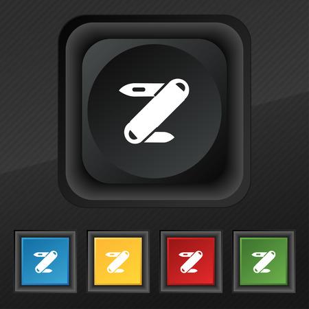 pocket knife: Pocket knife icon symbol. Set of five colorful, stylish buttons on black texture for your design. Vector illustration Illustration