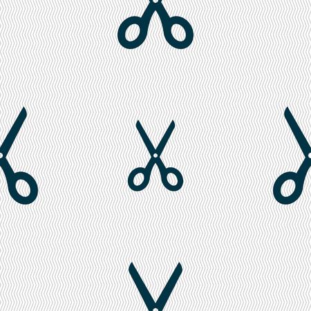 scissors icon: Scissors icon sign. Seamless pattern with geometric texture. Vector illustration