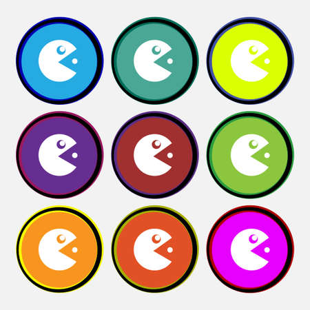 pixelated: pac man icon sign. Nine multi colored round buttons. Vector illustration
