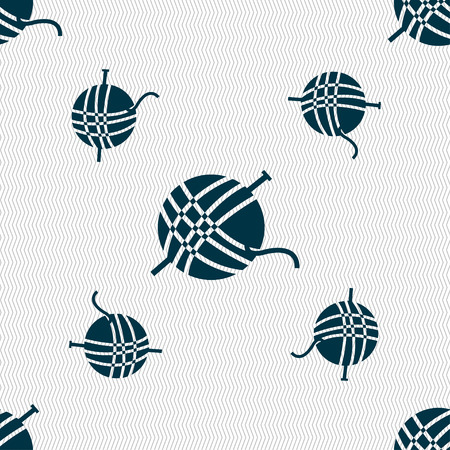 Yarn ball icon sign. Seamless pattern with geometric texture. Vector illustration Illustration