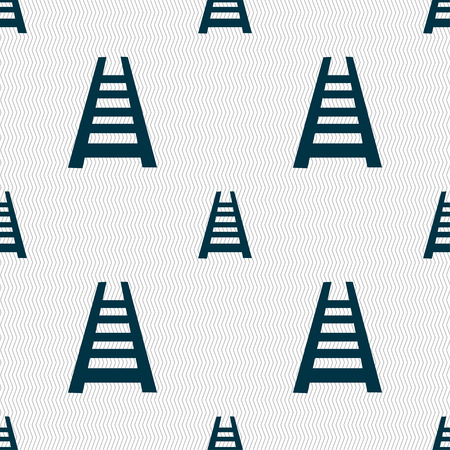 hand rails: Railway track icon sign. Seamless pattern with geometric texture. Vector illustration
