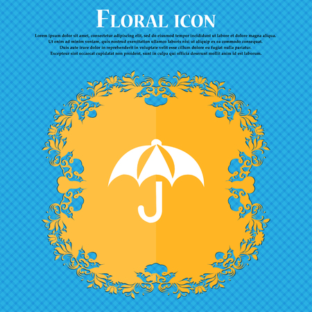 paper umbrella: Umbrella icon sign. Floral flat design on a blue abstract background with place for your text. Vector illustration Illustration