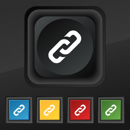 link icon: link icon symbol. Set of five colorful, stylish buttons on black texture for your design. Vector illustration Illustration